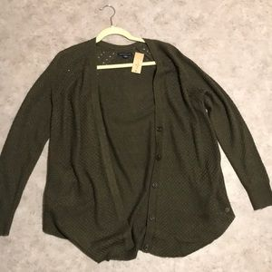 Green Buttoned American Eagle Cardigan